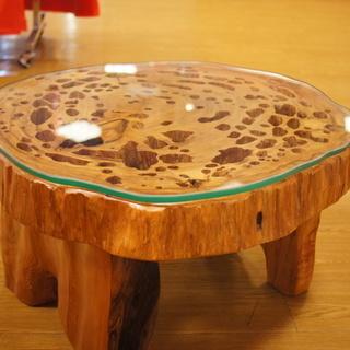 【希少】屋久杉テーブル 高さ約34cm 幅約60cm