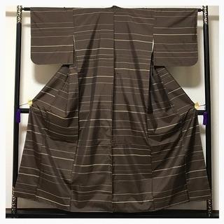 未使用 上質 正絹 お召し 茶 横縞 織り模様 袷 仕付け糸付き...