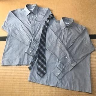 【交渉中】神戸龍谷高校 長袖カッターシャツ×2枚 サイズL、ネク...