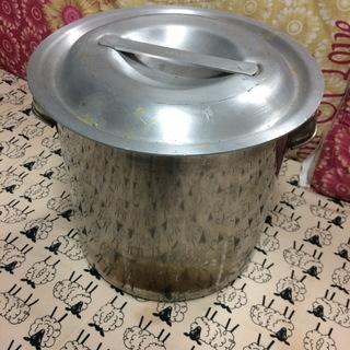 中古 ステンレス 10L寸銅鍋 蓋&お玉付き
