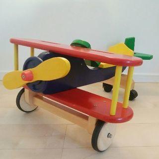 プロペラ飛行機 木製 乗り物玩具 インテリア