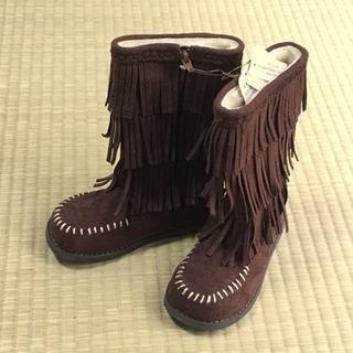 【新品】女の子 フリンジブーツ 18cm