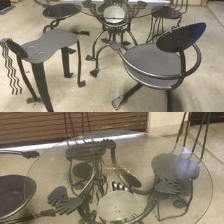 テーブル イス ガーデン おもしろ ガーデンチェアー  鉄製