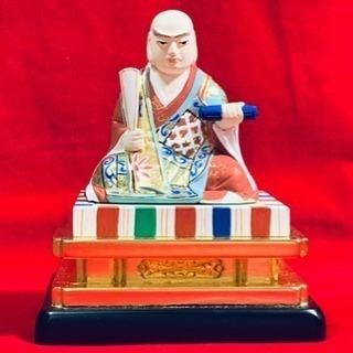 彩色木彫  日蓮大聖人座像  未使用  特割 送料込