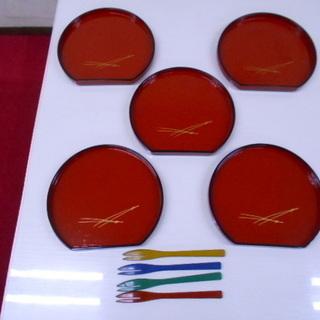 漆器和菓子皿/お椀セット
