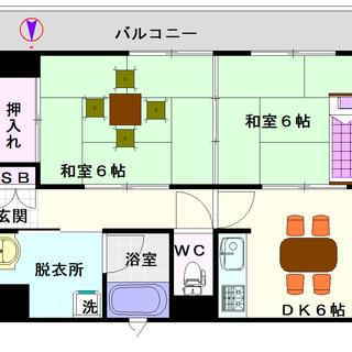 【カーサいずみ】4号タイプ!2DKタイプ!角部屋で窓が多いですね♪