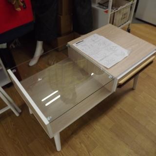 センターテーブル 引き出し付き ガラス天板 幅:80㎝ 札幌 西岡店