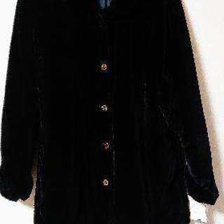 ♪新品♪ベロア風中綿入り黒のコート&ベスト2点セット(L)
