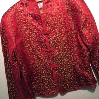 新品 チャイナドレスのジャケット 赤 L