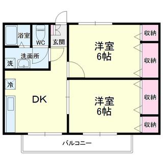 【TIARA202号室(2DK)】仲介手数料0円!礼金0円!敷金0...