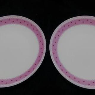 丸皿2枚 ピンクドット 20センチ