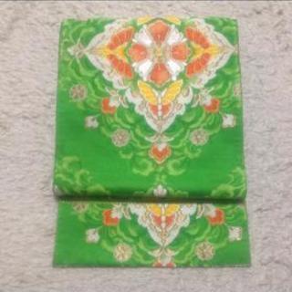 華やかな刺繍の袋帯 グリーン フォーマル対応