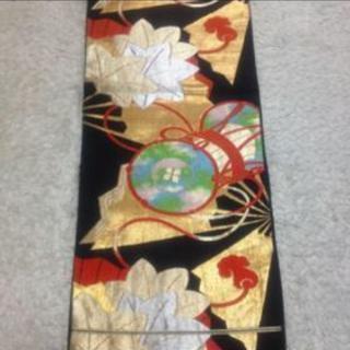 【9/30迄の引取限定】黒地に古典柄 華やかな袋帯 正絹 - 名古屋市