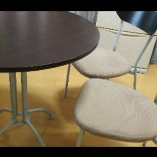【取引先決定済】ダイニングテーブル 円卓 丸 椅子2脚付