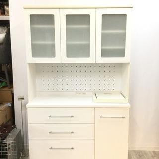 【川崎】大丸木工 キッチンボード 食器棚 収納棚 ホワイト キッチ...