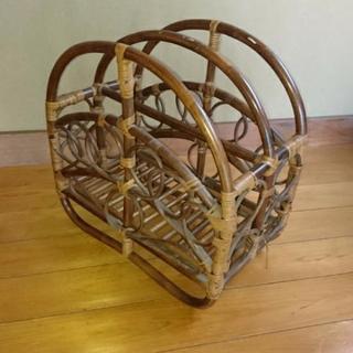 木製 マガジンラック アンティーク 籐家具 |ラタン
