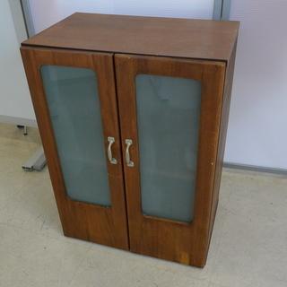 アンティーク レトロ 木製 本棚 ガラス製 扉付き