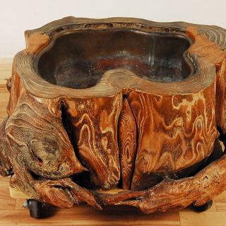 8038 無垢 桑 火鉢 木製 自然木 刳り貫き 銅落とし 高さ2...