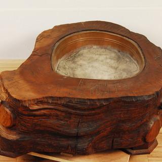 8039 桜 無垢材 火鉢 木製 自然木 刳り貫き 竹 梅 彫刻 ...