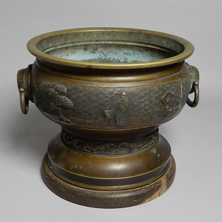アンティーク 真鍮製 火鉢 持ち手付き