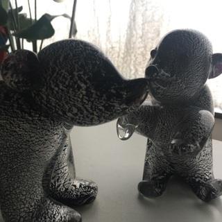 ベネチアングラスのクマの親子
