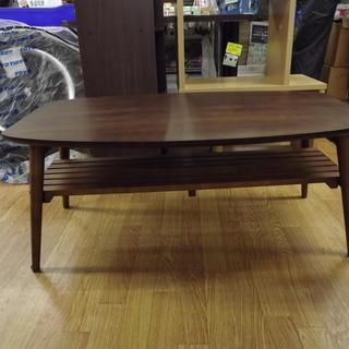 センターテーブル 折りたたみテーブル 棚付き 木製 幅:90cm ...