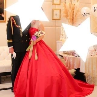 ウェディングカラードレス赤色