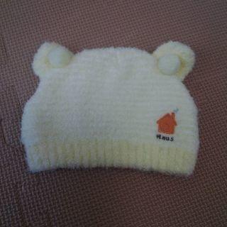 ベビー帽子 42-46 新生児 耳付き