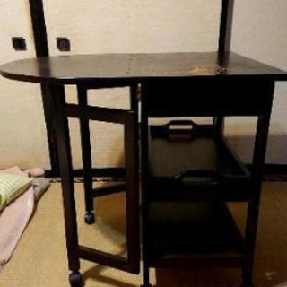 補修済み  テーブルワゴンキャスター付  折り畳み式