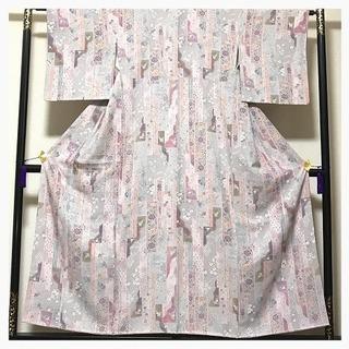 上質 染め 正絹 小紋 ピンク色 縞 短冊模様 中古品