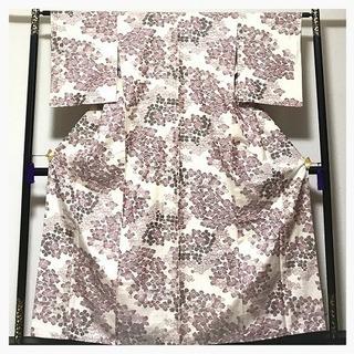 未使用 上質 紬 正絹 生成り 幾何学 織り柄 袷 中古品