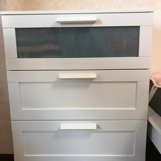 IKEA チェスト(引き出し×3), ホワイト, フロストガラス