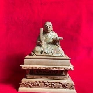 香木白檀 切金仕上げ 日蓮大聖人座像 手彫り 最高細密木彫り49万円の品