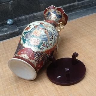 【珍品三千円】中国で買ってきた大きな壺、花瓶と木製の台 素敵に飾ってください 配達も可 − 京都府