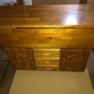 キッチン用収納付きバタフライテーブル