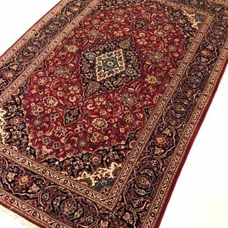 ペルシャ絨毯 ウール&シルク カシャン産 手織り 225×140cm