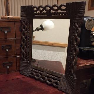昭和レトロ 木枠 鏡