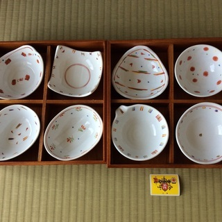 小鉢8個セット 赤絵ハ様 【新品未使用】