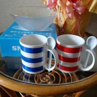 ペアマグカップ&ローソン景品 スヌーピーガラスのうつわ