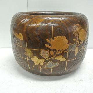 古民家具 火鉢 アンティーク 昭和レトロ 蒔絵螺鈿 木製 灰有り