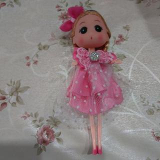 キーホルダー付き人形未使用品✨ピンクドレス👧
