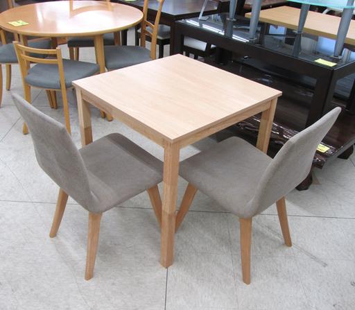 コンパクト70cmスクエア 正方形 2人用ダイニングセット 椅子2脚 宮の沢