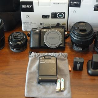SONYデジタルカメラ(NEX-6)+レンズ4本+フラッシュセット