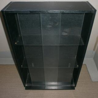 無料 ガラス扉付 3段収納ケース