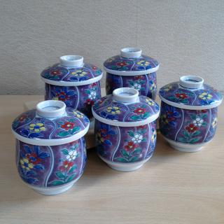終了 「京紫龍峰」花柄お碗 5個セット 陶器