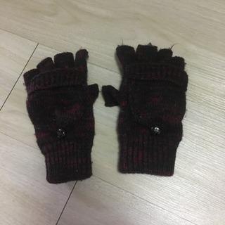 手袋 ハーフフィンガー 赤 黒