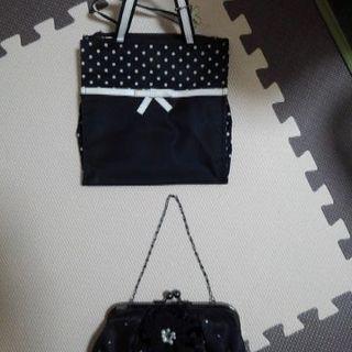 ハンドバッグ 2個セット 結婚式 二次会 水玉 リボン 黒