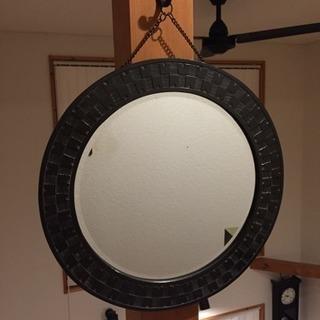 レア 木枠の丸鏡