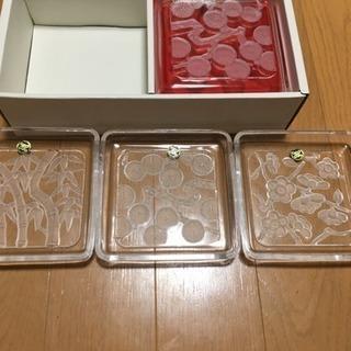 クリスタルガラス 松竹梅 お皿 6枚セット(値下げ)