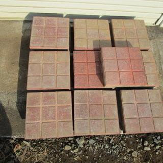 コンクリート製カラー平板;チェック 赤レンンガ(SC-R)タイル...